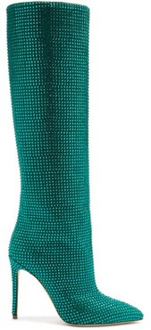 Holly Crystal-embellished Suede Knee-high Boots - Womens - Dark Green