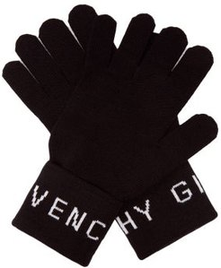 Logo-intarsia Wool Gloves - Mens - Black White