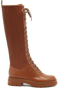 Martis Lace-up Leather Knee-high Boots - Womens - Brown