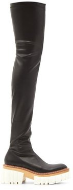 Emilie Faux-leather Platform Over-the-knee Boots - Womens - Black White