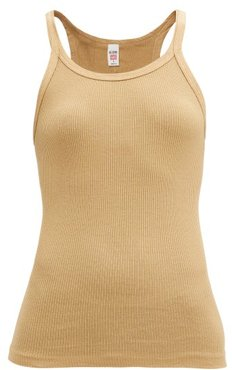 Ribbed Cotton Camisole - Womens - Beige