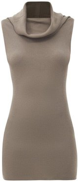 Sleeveless Cowl-neck Ribbed Wool Top - Womens - Grey