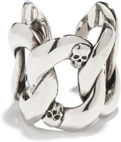 Skull Curb-link Ring - Mens - Silver