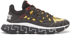 Trigreca Leather-trimmed Baroque-canvas Trainers - Mens - Black Gold