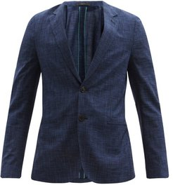 Soho Single-breasted Checked Wool-blend Blazer - Mens - Navy Multi