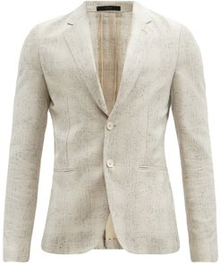 Single-breasted Faded-check Suit Jacket - Mens - Beige
