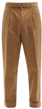 Hugo Single-pleated Belted Cotton Trousers - Mens - Beige