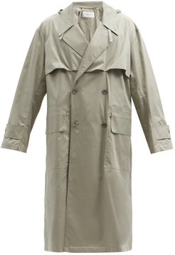 Double-breasted Cotton-chintz Hooded Parka - Mens - Light Grey