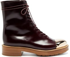 Riccardo Toe-cap Leather Boots - Womens - Burgundy Gold