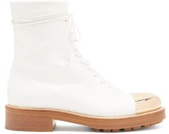 Riccardo Toe-cap Leather Boots - Womens - White Gold