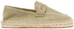 Hamptons Collapsible-heel Suede Penny Loafers - Mens - Olive Green