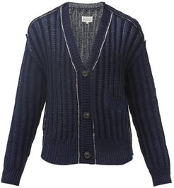 Rib-knitted Cotton Cardigan - Mens - Navy