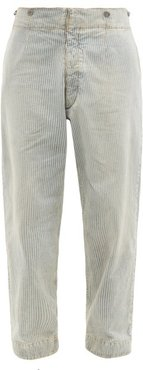 Stonewashed Striped Relaxed-leg Jeans - Mens - Blue