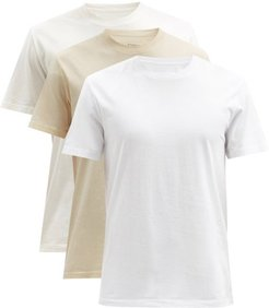 Pack Of Three Four-stitches Cotton-jersey T-shirts - Mens - White