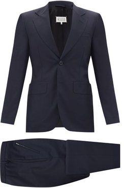 Four Stitches Wool-fresco Two-piece Suit - Mens - Navy