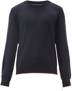 Elbow-patch Cotton-blend Knit Sweater - Mens - Navy