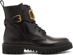 V-logo Lace-up Leather Boots - Womens - Black