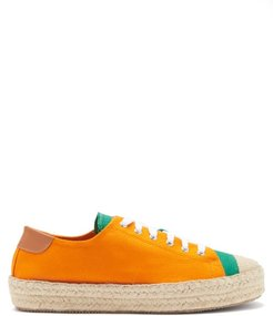 Canvas Low-top Espadrille Trainers - Mens - Orange