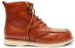 Topstitched Leather Ankle Boots - Womens - Tan