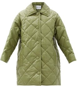 Jacey Diamond-quilted Padded Faux-leather Coat - Womens - Khaki