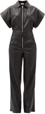 Waverly Zipped Faux-leather Jumpsuit - Womens - Black