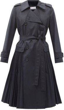 Pleated Cotton-blend Gabardine Trench Coat - Womens - Navy