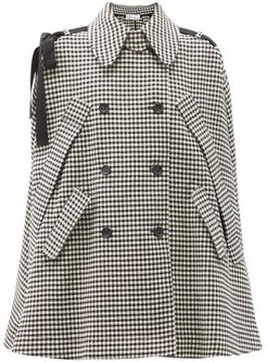 Grosgrain-trim Double-breasted Gingham Cape - Womens - Black White