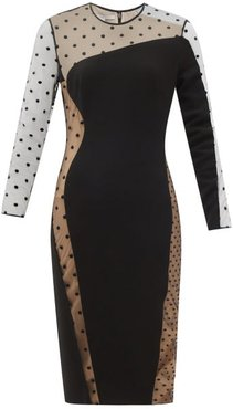 Arielle Cady And Polka-dot-flocked Tulle Dress - Womens - Black