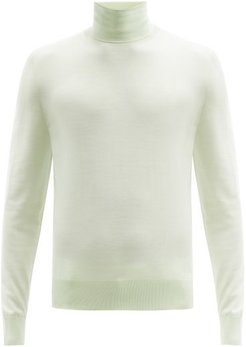 Roll-neck Virgin-wool Sweater - Mens - Light Green