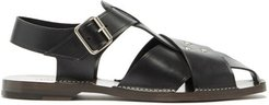 Cross-over Strap Leather Sandals - Mens - Black