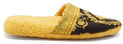 Baroque-print Cotton-terry Slippers - Mens - Black Gold