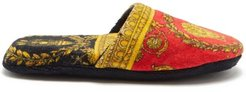 Baroque-print Cotton-terry Slippers - Mens - Red Gold