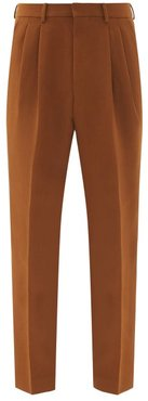 Pleated Wool-twill Trousers - Mens - Brown