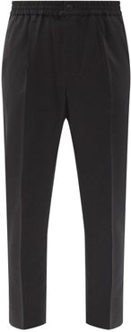 Cropped Tropical-wool Twill Trousers - Mens - Black