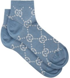GG-jacquard Cotton-blend Socks - Womens - Blue