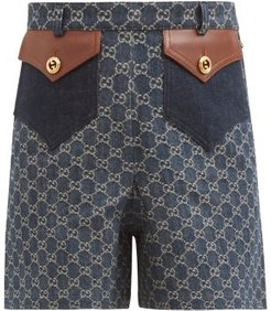 High-rise Gg-jacquard Organic-cotton Denim Shorts - Womens - Navy