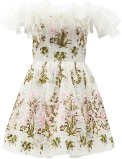 Off-the-shoulder Floral-tulle Mini Dress - Womens - White Multi