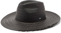 Waikiki Logo-plaque Straw Panama Hat - Mens - Black