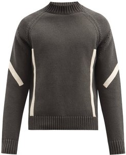 Panelled High-neck Cotton Sweater - Mens - Grey