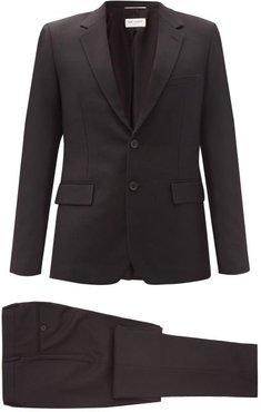 Single-breasted Slim-fit Wool-twill Suit - Mens - Black