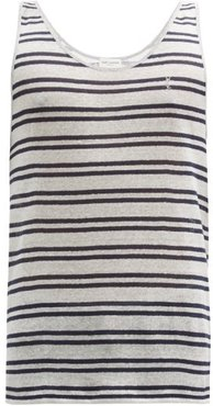 Ysl-embroidered Striped Linen-jersey Tank Top - Mens - Blue Stripe