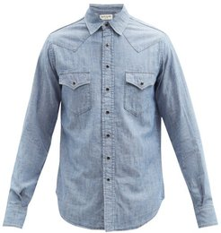 Western Push-stud Denim Shirt - Mens - Blue