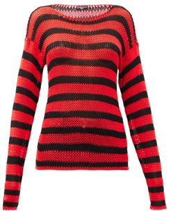 Ss97 Striped Open-knit Cotton Sweater - Womens - Black Red