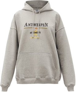 Antwerpen Logo-print Cotton Hooded Sweatshirt - Womens - Grey