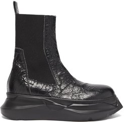 Beetle Crackled-leather Chelsea Boots - Mens - Black