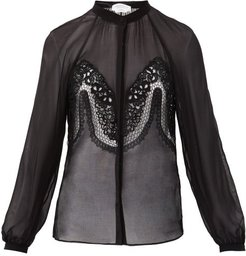 Gia Lace-trimmed Silk-georgette Blouse - Womens - Black
