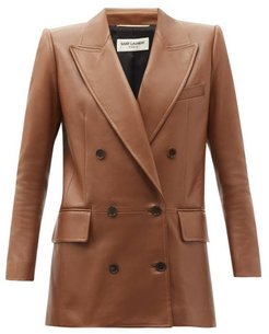 Double-breasted Leather Jacket - Womens - Light Brown