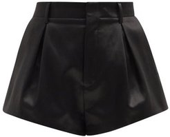 Pleated Cotton-blend Satin Shorts - Womens - Black