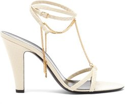 Sue Chain-embellished Leather Sandals - Womens - Cream