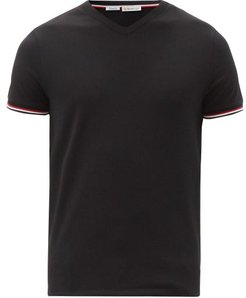 Striped-cuff V-neck Cotton-jersey T-shirt - Mens - Black